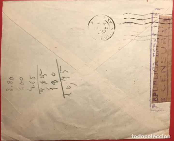 Sellos: CORREO AÉREO. CENSURA RÉPUBLICA. ALICANTE. 1937. GUERRA CIVIL - Foto 2 - 231741935