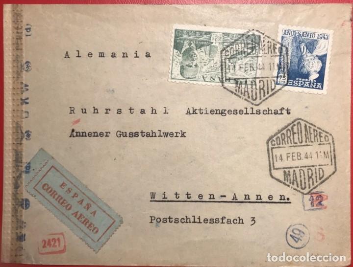 CORREO AÉREO. CENSURA. MADRID 1944 (Sellos - Historia Postal - Sello Español - Sobres Circulados)