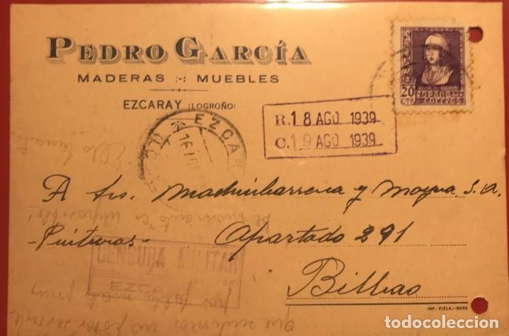 CENSURA MILITAR. EZCARAY, LOGROÑO 1939. GUERRA CIVIL (Sellos - Historia Postal - Sello Español - Sobres Circulados)