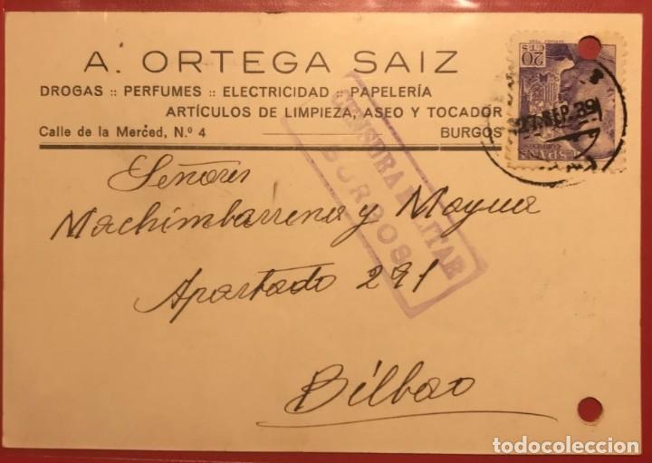 CENSURA MILITAR BURGOS. 1939. GUERRA CIVIL (Sellos - Historia Postal - Sello Español - Sobres Circulados)