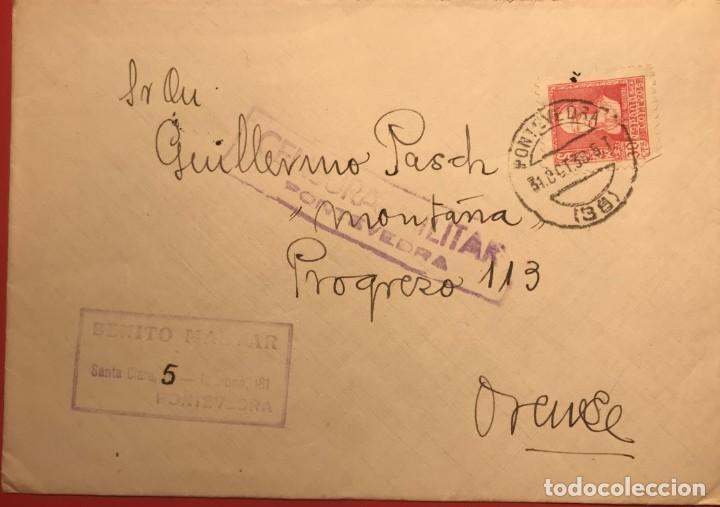CENSURA MILITAR. PONTEVEDRA. 1938. GUERRA CIVIL. GALICIA (Sellos - Historia Postal - Sello Español - Sobres Circulados)