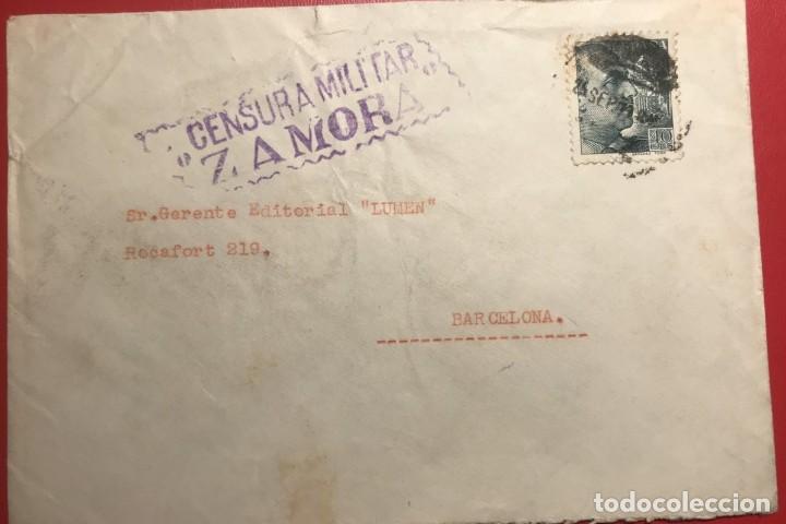 CENSURA MILITAR ZAMORA (Sellos - Historia Postal - Sello Español - Sobres Circulados)