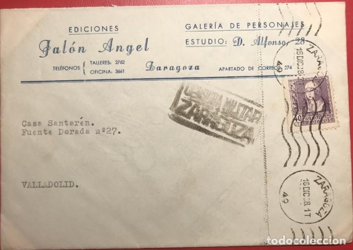 CENSURA MILITAR. ZARAGOZA. 1938. GUERRA CIVIL (Sellos - Historia Postal - Sello Español - Sobres Circulados)