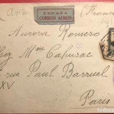 Sellos: CENSURA MILITAR REPÚBLICA. 1937. GUERRA CIVIL. AÉREO. Lote 231745260