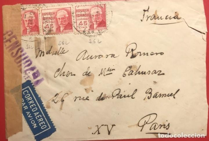 CORREO AÉREO. CENSURA REPÚBLICA. MADRID. 1938. GUERRA CIVIL (Sellos - Historia Postal - Sello Español - Sobres Circulados)