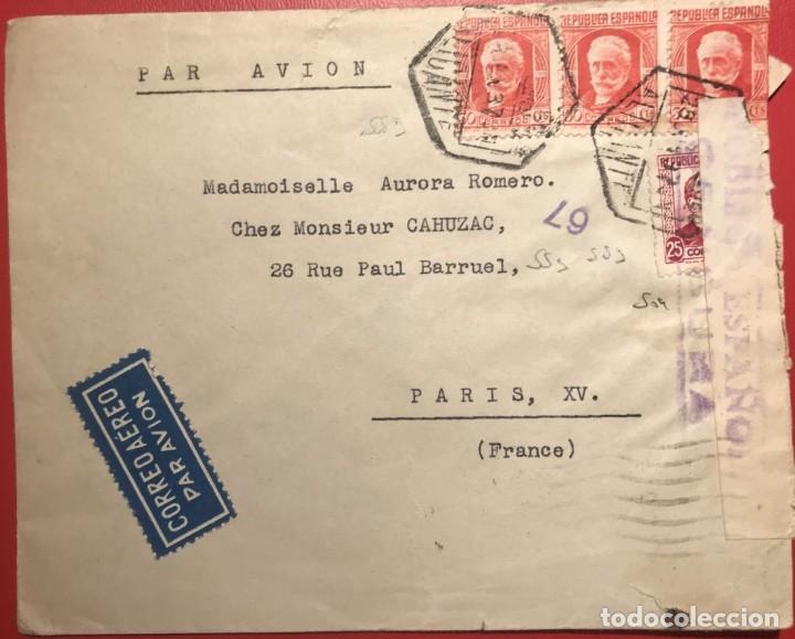 CORREO AÉREO. CENSURA REPÚBLICA. ALICANTE. 1937. GUERRA CIVIL (Sellos - Historia Postal - Sello Español - Sobres Circulados)