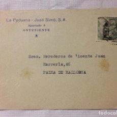 Sellos: CARTA CIRCULADA PALMA DE MALLORCA A ONTENIENTE. Lote 232245910