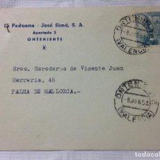 Sellos: CARTA CIRCULADA PALMA DE MALLORCA A ONTENIENTE. Lote 232245995