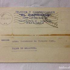 Sellos: CARTA CIRCULADA PALMA DE MALLORCA A ZARAGOZA. Lote 232246490