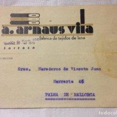 Sellos: CARTA CIRCULADA PALMA DE MALLORCA A TARRASA. Lote 232246515