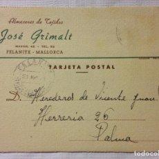 Sellos: CARTA CIRCULADA PALMA DE MALLORCA A FELANITX. Lote 232246560