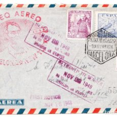 Sellos: SOBRE MAT. CORREO AÉREO BARCELONA NEW YORK DEVUELTA RETURNED TO SENDER 1948. Lote 236917930