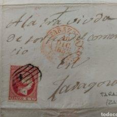 Sellos: ENVUELTA 1853 DE TARAZONA A ZARAGOZA FRANQUEO 6 CS. Lote 72353341