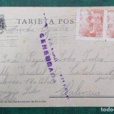 Sellos: TARJETA POSTAL CIRCULADA CENSURADA PRISION CELULAR DE VALENCIA 1939, SELLOS DE 10CTS FRANCO. Lote 240182630