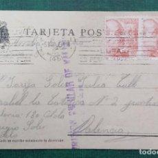 Sellos: TARJETA POSTAL CIRCULADA CENSURADA PRISION CELULAR DE VALENCIA 1939, SELLOS DE 10CTS FRANCO. Lote 240182895