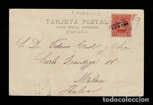 Sellos: C10-3-9 Postal VELAZQUEZ -CONDE DUQUE DE OLIVARES circulada con matasellos Carteria CADAQUES - Fech - Foto 2 - 244620015