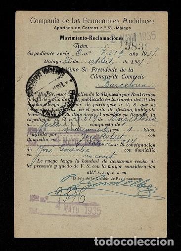 C10-3-25 HISTORIA POSTAL TARJETA POSTAL DE LA COMPAÑIA DE LOS FERROCARRILES ANDALUCES CIRCULADA EL 4 (Sellos - Historia Postal - Sello Español - Sobres Circulados)