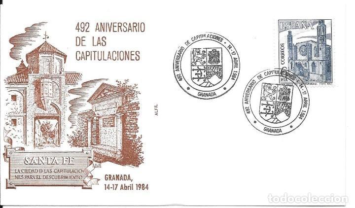 COLON DESCUBRIMIENTO DE AMERICA. LOTE 4 CARTAS MATASELLOS CAPITULACIONES DE SANTA FE (Sellos - Historia Postal - Sello Español - Sobres Circulados)