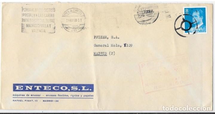 MATASELLOS ESPECIAL DE CIRCUNSTANCIAS DE MADRID EN SOBRE DE CORREO INTERIOR DE MADRID. 1980 (Sellos - Historia Postal - Sello Español - Sobres Circulados)