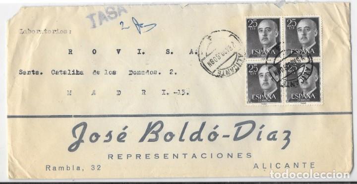 EDIFIL 1156 BLOQUE DE 4. SOBRE DE ALICANTE A MADRID. TASADA 2 PESETAS 1960 (Sellos - Historia Postal - Sello Español - Sobres Circulados)