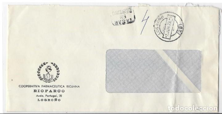 SOBRE ENVIADO DESDE DE LOGROÑO SIN FRANQUEO. MARCA TASAR EN DESTINO 1973 (Sellos - Historia Postal - Sello Español - Sobres Circulados)