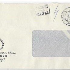 Sellos: SOBRE ENVIADO DESDE DE LOGROÑO SIN FRANQUEO. MARCA TASAR EN DESTINO 1973. Lote 246131365