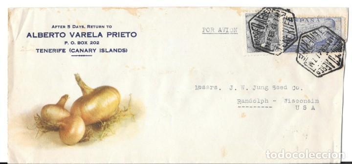 CEBOLLAS CORREO AEREO SOBRE ILUSTRADO DE TENERIFE A ESTADOS UNIDOS 1947 (Sellos - Historia Postal - Sello Español - Sobres Circulados)