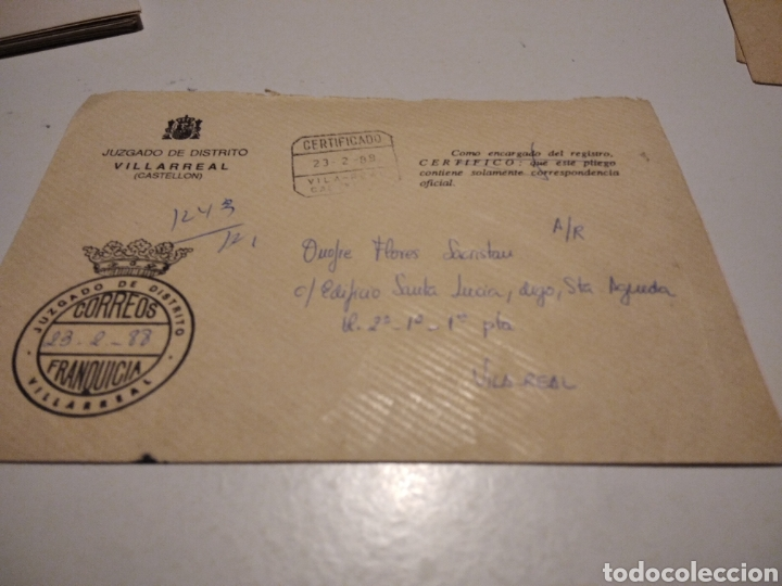 SOBRE JUZGADO DE DISTRITO VILLARREAL (Sellos - Historia Postal - Sello Español - Sobres Circulados)