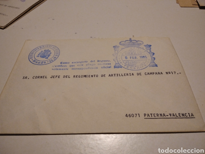 SOBRE MILITAR REGIMIENTO MIXTO DE ARTILLERÍA N93 PATERNA (Sellos - Historia Postal - Sello Español - Sobres Circulados)