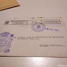 Sellos: SOBRE MILITAR REGIMIENTO DE ARTILLERÍA PATERNA. Lote 246168525