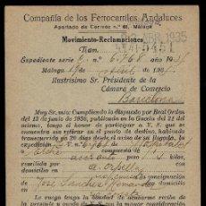 Sellos: C10-3-25 HISTORIA POSTAL TARJETA POSTAL DE LA COMPAÑIA DE LOS FERROCARRILES ANDALUCES CIRCULADA EL 1. Lote 246188175