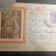Sellos: ELDA ALICANTE COLONIA PRISIÓN DEL DUESO 1941 TARJETA PATRIOTICA FRANCO. Lote 251712315