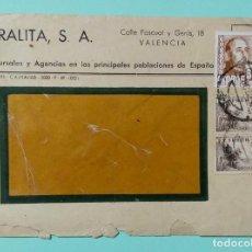 Sellos: SOBRE CIRCULADO DE URALITA SA VALENCIA, CON 3 SELLOS AÑOS 50 Y MATASELLOS DE VALENCIA. Lote 253242865