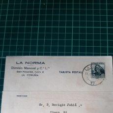 Sellos: CARTA DIRIGIDA MATARO BARCELONA ENVIA LA NORMA LA CORUÑA 1936 CAMISAS SEDA MODA CARTA COMERCIAL. Lote 253674310