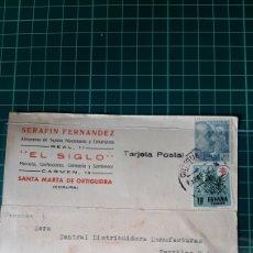 Sellos: SANTA MARTA DE ORTIGUEIRA EL SIGLO LA CORUÑA 1952 DESTINO BARCELONA TEXTILES MATASELLO ORTIGUEIRA. Lote 253674680