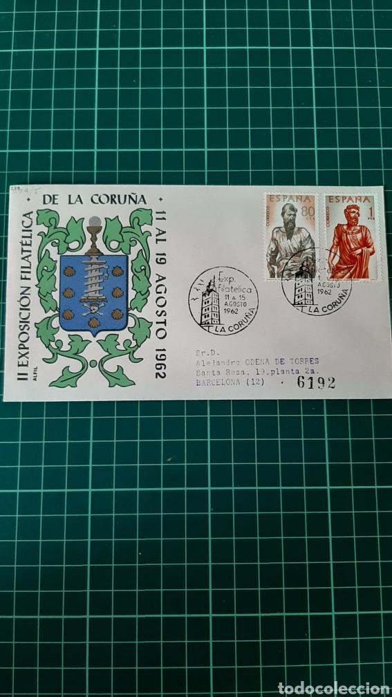 1962 LA CORUÑA MATASELLO EXPOSICIÓN FILATÉLICA III TORRE HERCULES ESCUDO CORUÑA FILATELIA COLISEVM (Sellos - Historia Postal - Sello Español - Sobres Circulados)
