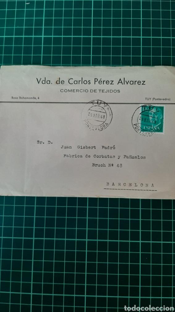 1968 YUY PONTEVEDRA GALICIA MATASELLO VDA CARLIS PÉREZ ÁLVAREZ TEJIDOS DESTINO BARCELONA (Sellos - Historia Postal - Sello Español - Sobres Circulados)