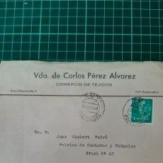Sellos: 1968 YUY PONTEVEDRA GALICIA MATASELLO VDA CARLIS PÉREZ ÁLVAREZ TEJIDOS DESTINO BARCELONA. Lote 254051235