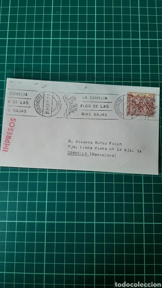 PONTEVEDRA 1971 RODILLOS MATASELLO CAMELIA FLORA RIAS BAJAS IMPRESO DESTINO CORNELLÁ BARCELONA (Sellos - Historia Postal - Sello Español - Sobres Circulados)