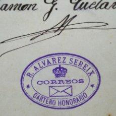 Sellos: SELLO FRANQUICIA RAFAEL ÁLVAREZ SEREIX - CARTERO HONORARIO - COMO EX LIBRIS - HISTORIA POSTAL. Lote 260567615