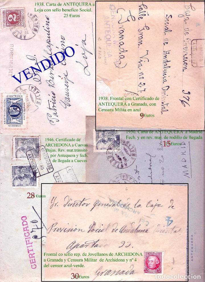 Sellos: MALAGA Y PROV.- HISTORIA POSTAL, CARTAS Y T.P. P.V, 2.885 €. VER 16 FOTOS ADICIONALES Y CONDICIONES. - Foto 3 - 31780865