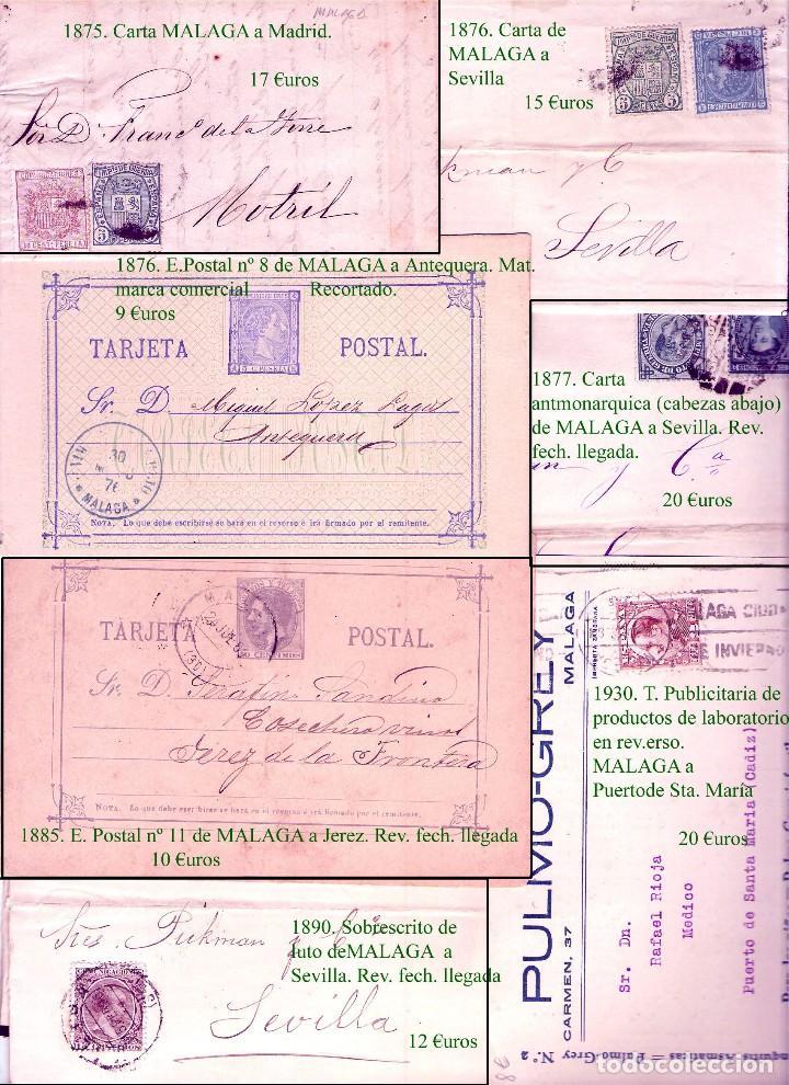 Sellos: MALAGA Y PROV.- HISTORIA POSTAL, CARTAS Y T.P. P.V, 2.885 €. VER 16 FOTOS ADICIONALES Y CONDICIONES. - Foto 10 - 31780865