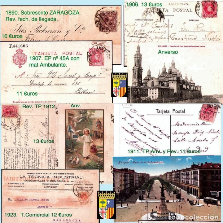 Sellos: ZARAGOZA Y PROV.- HISTORIA POSTAL 16 PLANCHAS CON 123 PIEZAS P.V.P. 3.330 €. VER CONDICIONES. - Foto 9 - 32189219