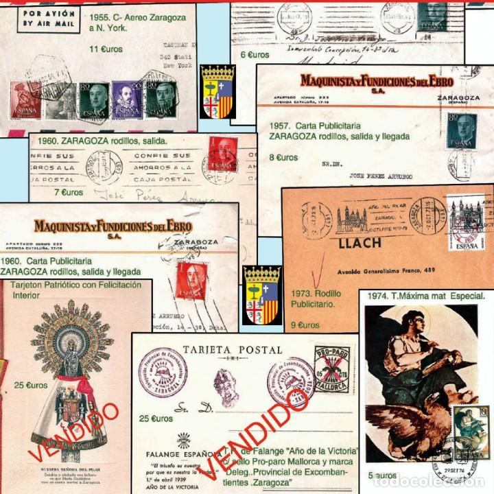 Sellos: ZARAGOZA Y PROV.- HISTORIA POSTAL 16 PLANCHAS CON 123 PIEZAS P.V.P. 3.330 €. VER CONDICIONES. - Foto 16 - 32189219