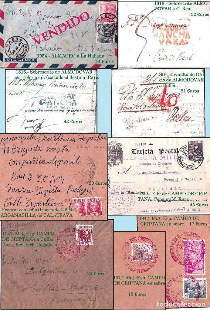 Sellos: CIUDAD REAL Y PROV..- HISTORIA POSTAL, CARTAS Y MAPA. P.V. 1.458 €. VER 7 PLANCHAS Y CONDICIONES. - Foto 2 - 31605591