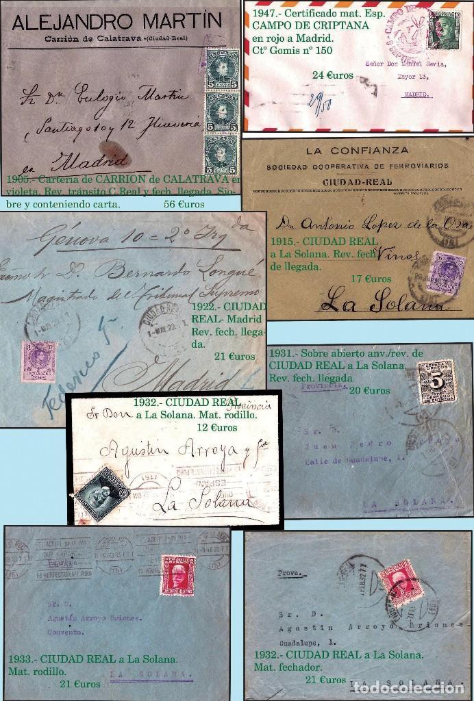 Sellos: CIUDAD REAL Y PROV..- HISTORIA POSTAL, CARTAS Y MAPA. P.V. 1.458 €. VER 7 PLANCHAS Y CONDICIONES. - Foto 3 - 31605591