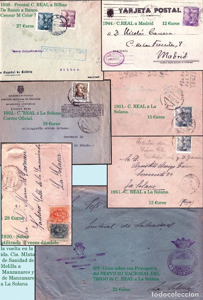 Sellos: CIUDAD REAL Y PROV..- HISTORIA POSTAL, CARTAS Y MAPA. P.V. 1.458 €. VER 7 PLANCHAS Y CONDICIONES. - Foto 4 - 31605591