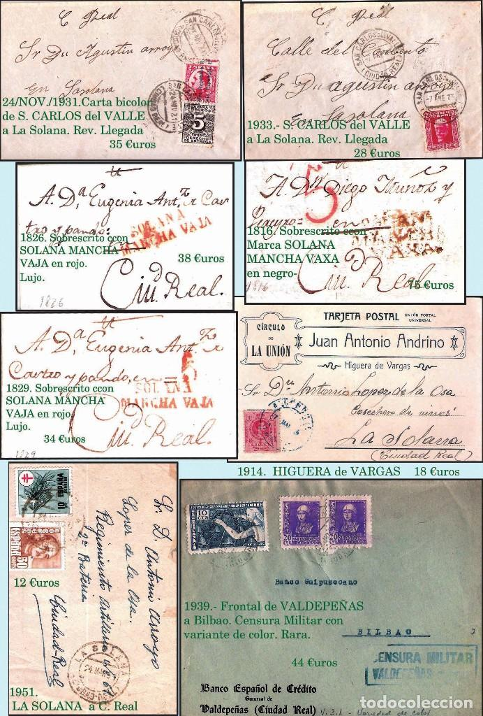 Sellos: CIUDAD REAL Y PROV..- HISTORIA POSTAL, CARTAS Y MAPA. P.V. 1.458 €. VER 7 PLANCHAS Y CONDICIONES. - Foto 6 - 31605591