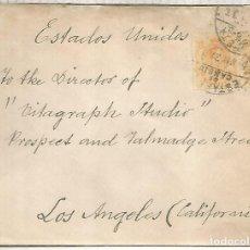 Sellos: MADRID A USA LOS ANGELES 1921 SELLOS MEDALLON Y MAT ESFETA DE CAMBIO. Lote 262059315