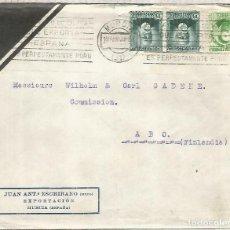 Sellos: MURCIA A FINLANDIA 1933 CON TRANSITO Y LLEGADA MAT ACEITE DE OLIVA OLIVE OIL. Lote 262059650